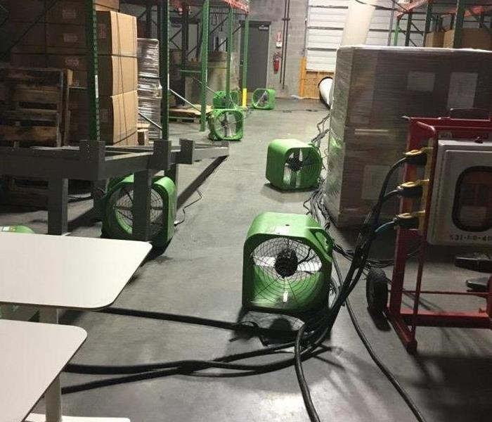 SERVPRO working on a large commercial water loss